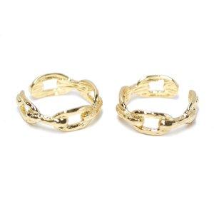 【1点】Bold Knot Chainゴールドフリーサイズリング、指輪 NF