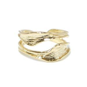 【1点】大ぶり!質感ある歪み二連曲線のゴールドリング、指輪 NF