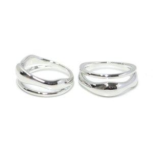 【1点】手作り感ある歪みボリューム形のシルバーリング、指輪 NF