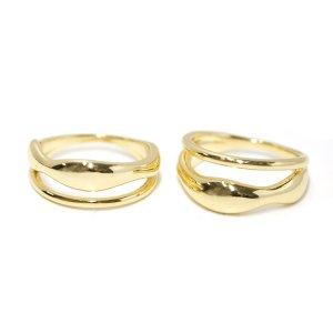 【【1点】手作り感ある歪みボリューム形のゴールドリング、指輪 NF