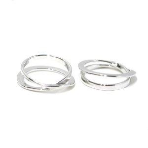 【1点】立体的に巻かれて交差するシルバーリング、指輪 NF