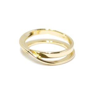 【1点】立体的に巻かれて交差するゴールドリング、指輪 NF