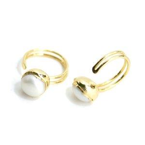 【1点】大粒淡水パールのゴールドフリーサイズリング、指輪 NF