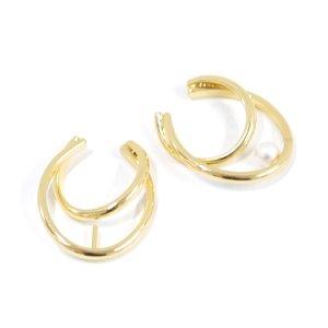 【1個】ピートン付き!重なる円形&オーバル形のゴールドイヤーカフ、軟骨ピアス NF