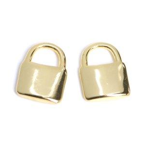 【2個入り】キュートなPADLOCK南京錠モチーフの光沢ゴールドチャーム NF