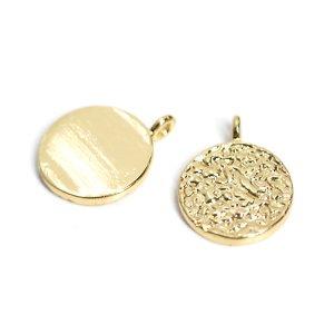 【2個入り】約10mm凹凸あるCoin円形ゴールドチャーム NF