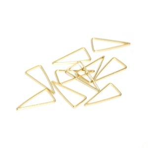 【10個入り】約9*18mm 三角形ゴールド真鍮製フレーム、チャーム NF