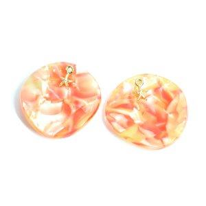 【1個】Orange Circle&Gold StarfishヒトデSummerペンダント,チャームJP