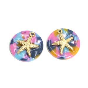 【1個】Colorful Circle&Gold StarfishヒトデSummerペンダント,チャームJP