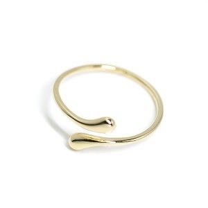 【1個】スタイリッシュなプチしずく形のゴールドレディースリング、指輪 NF