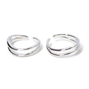 【1点】立体的な二連、曲線のシルバーフリーサイズリング、指輪 NF
