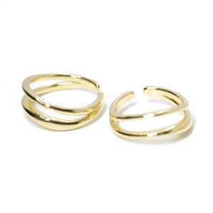 【1点】立体的な二連、曲線のゴールドフリーサイズリング、指輪 NF