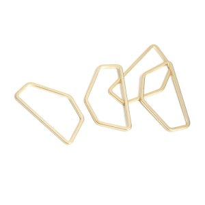 【1個】シンプルな五角形のマットゴールドチャーム、コネクター NF