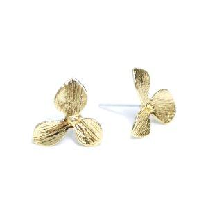 【1ペア】中央に925刻印芯!光沢ゴールド花びらPetal Flowerピアス NF