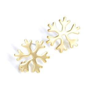 【1ペア】Snow Flake雪の結晶モチーフマットゴールドカン付きピアス、パーツ