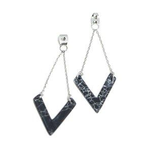【1ペア】Black MableV形装飾付きシルバーピアスバックキャッチ