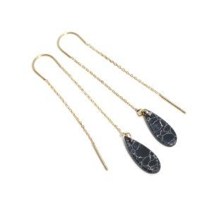 【1ペア】しずく形Black Mable装飾付きゴールドチェーンピアス NF