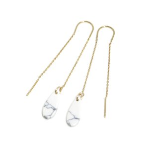 【1ペア】しずく形White Mable装飾付きゴールドチェーンピアス NF