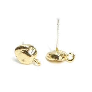 【1ペア】SV925芯!約6mm手作り感あるプチ円形ゴールドカン付きピアス NF