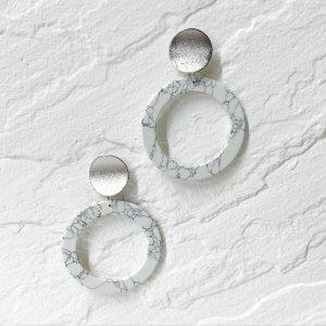 ●手作りキット●ホワイト&シルバー円形シルバー925芯ピアス