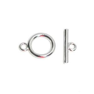【1セット】約8.5mm円形&約11mmスティックのシルバーマンテルセット、留め金具 NF