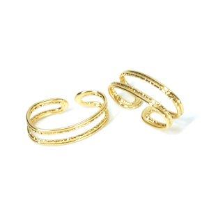 【1個】Duo Line約23mmオーバル形ゴールドイヤーカフ、軟骨ピアス NF