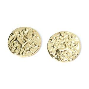 【1個入り】精巧に刻まれたキューピッド入りコインのゴールドチャーム NF
