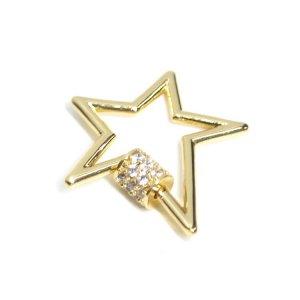 【1個】星STAR形パヴェCZ輝くゴールドチャーム NF