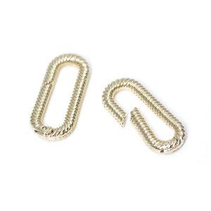【1個】ツイスト長方形のゴールド連結パーツ、留め金具 NF