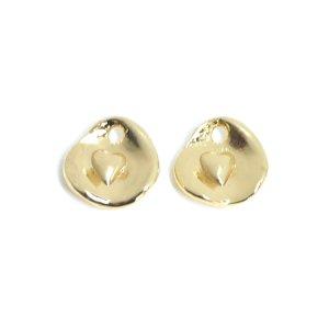 【2個入り】プチハート&歪みコインの光沢ゴールドチャーム NF