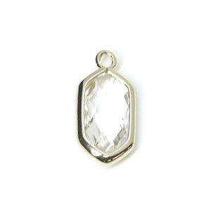 【1個入り】クリスタルガラスSlim Hexagon形光沢ゴールドチャーム NF
