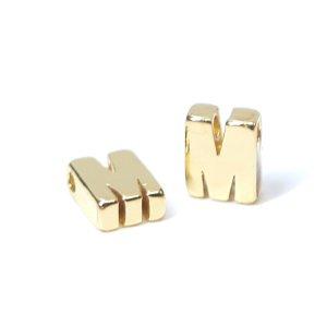 【1個入り】イニシャル【 M 】ゴールドチャーム NF