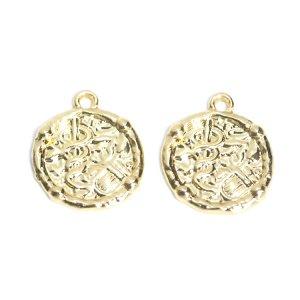 【1個入り】中世ローマ風ビンテージコイン光沢ゴールドチャーム NF