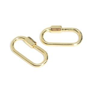 【1個入り】23mm装飾付き長方形の光沢ゴールドチャーム NF