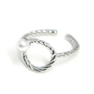 【1個】パール付きフリーサイズシルバーリング、指輪 NF