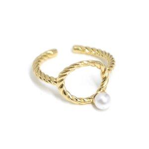【1個】パール付きフリーサイズゴールドリング、指輪 NF