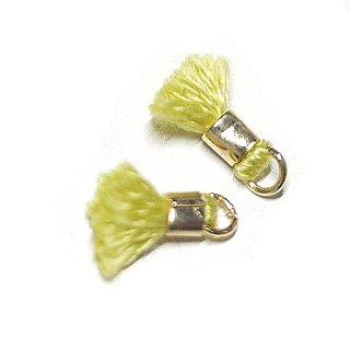 【6個入り】刺繍糸tasselライムカラーミニタッセル|ハンドメイド材料|アクセサリーパーツ