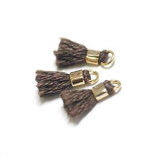 【6個入り】刺繍糸tasselダークブラウンカラーミニタッセル|ハンドメイド材料|アクセサリーパーツ