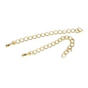 【10個入り】約55mm真鍮製ゴールドアジャスターチェーン、金具
