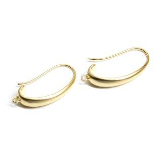 【2個入り】カン付き!優美な曲線の約24mmマットゴールドピアスフック、パーツ