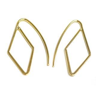 【2個(1ペア)】約25mmダイヤモンド形ゴールドピアスフック