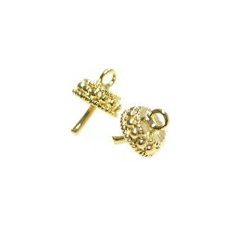 【4個入り】光沢ゴールド!王冠 Crownモチーフのピートン付きチャーム、パーツ
