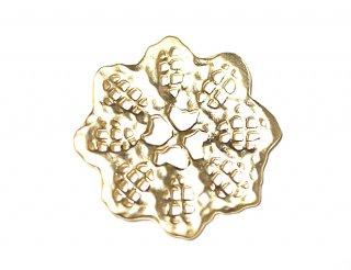【1個入り】凹凸あるマットゴールド透かしパーツフラワーモチーフコネクター、チャーム