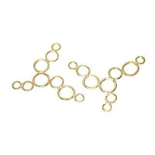 【2個入り】質感あるBubble Bubble 円形がつながったマットゴールドチャーム、パーツ