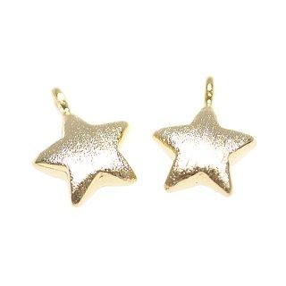 【2個入り】質感あるゴールドPetit Starスターモチーフ タテカン付きチャーム