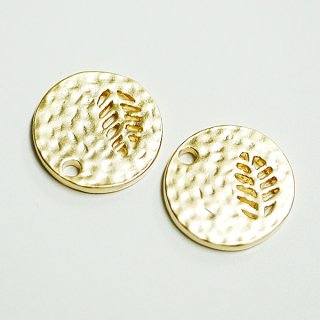 【2個入り】凹凸あるコインモチーフに刻まれたリーフ!マットゴールドチャーム