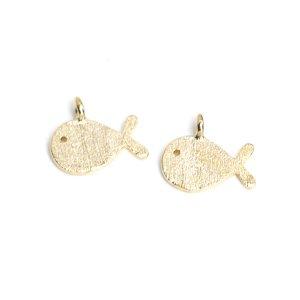 【2個入り】Cute Small Fish 魚モチーフの質感あるゴールドチャーム、パーツ