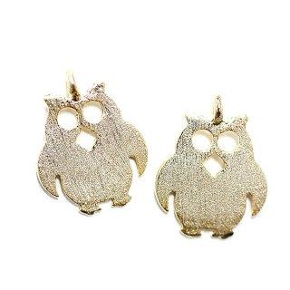 【2個入り】Cute Owl フクロウモチーフの質感あるゴールドチャーム、パーツ