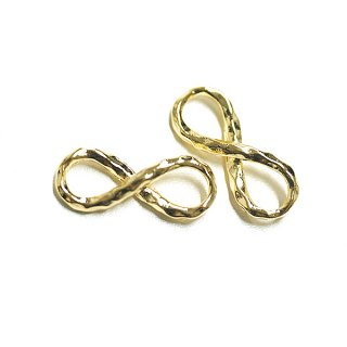 【4個入り】凹凸あるインフィニティー(無限)モチーフ光沢ゴールドチャーム、パーツ