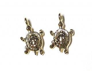 【2個入り】プチ可愛いウミガメ(海亀)!光沢ゴールド仕上げ装飾、チャーム